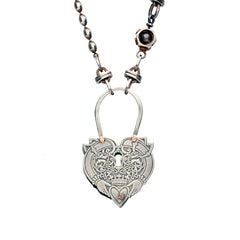 Rewind Heart Keyhole Link Chain Necklace