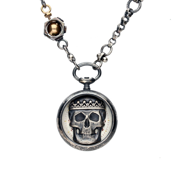 Rewind Skull Crown Small Pocket Watch Necklace NUNQ0001463