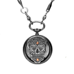 Rewind Skull Heart Eyes Small Pocket Watch Necklace