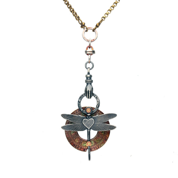 00167799 Rewind Dragonfly with Heart Centre and Victorian Hand Necklace, NUNQ0001466.