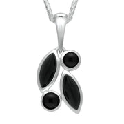 00180719 W Hamond Sterling Silver Whitby Jet Four Stone Leaf Drop Two Piece Set, S047.