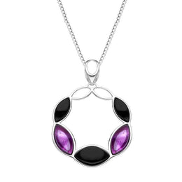 Sterling Silver Whitby Jet Amethyst Five Stone Leaf Circle Necklace, P3485.