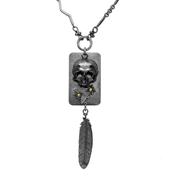 00179781 Valkyrie Skull Bee Feather Dropper Necklace, N1078.