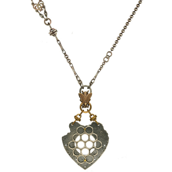 00179782 Valkyrie Honeycomb Heart Bee Necklace, N1079