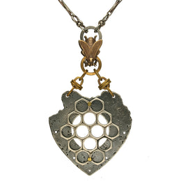 Valkyrie Honeycomb Heart Bee Necklace