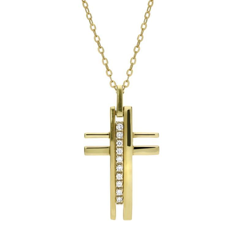 18ct Yellow Gold Diamond Contemporary Cross Necklace