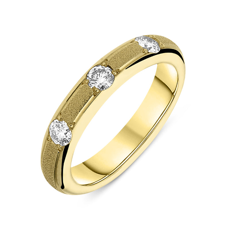 18ct Yellow Gold Diamond Three Stone Textured Band Ring