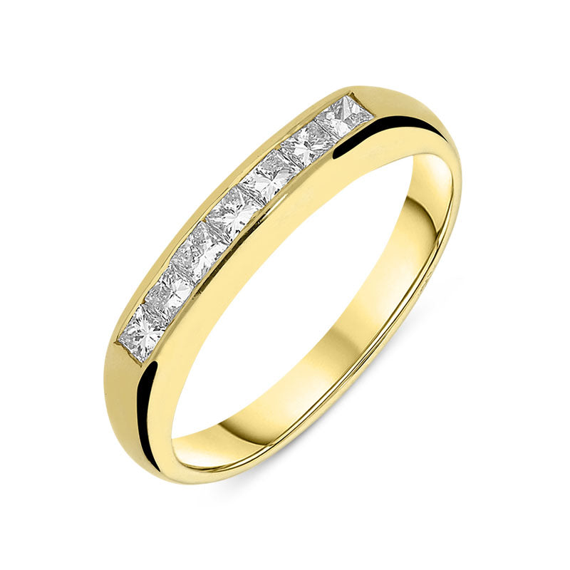 18ct Yellow Gold Diamond Set Half Eternity Ring