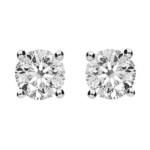 18ct Yellow and White Gold 0.83 Carat Diamond Solitaire Stud Earrings