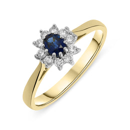 00009262 W Hamond 18ct Yellow Gold Sapphire Oval Cluster Ring, FEU993