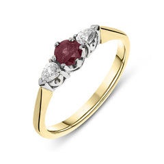 18ct Yellow Gold Ruby and Diamond Pear Cut Trilogy Ring