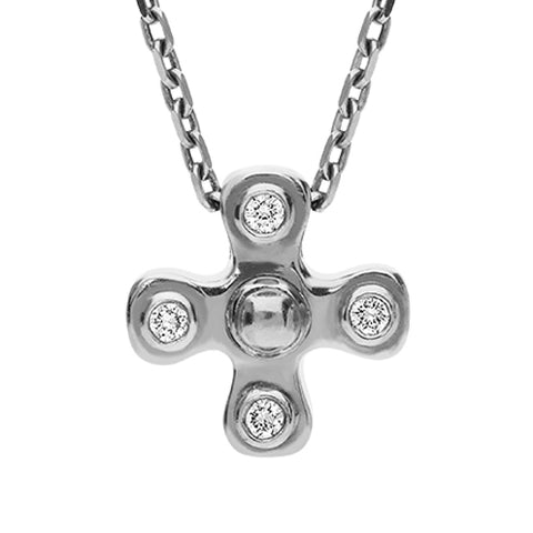 18ct White Gold Diamond 4 Stone Cross Necklace