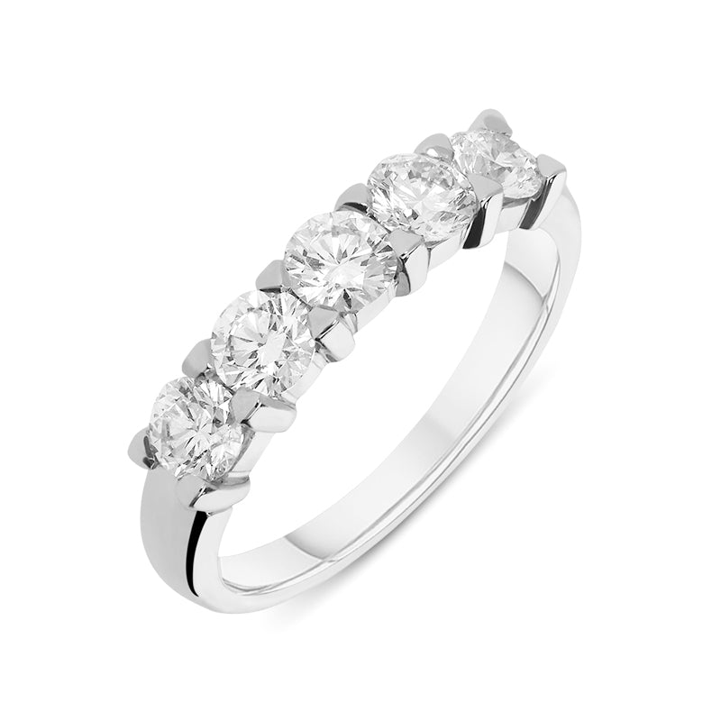 18ct White Gold Diamond Five Stone Half Hoop Ring