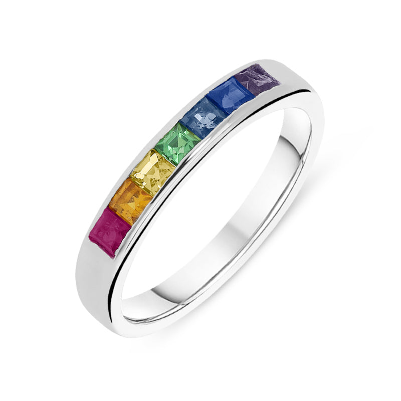 18ct White Gold Rainbow Sapphire Princess Cut Half Eternity Ring