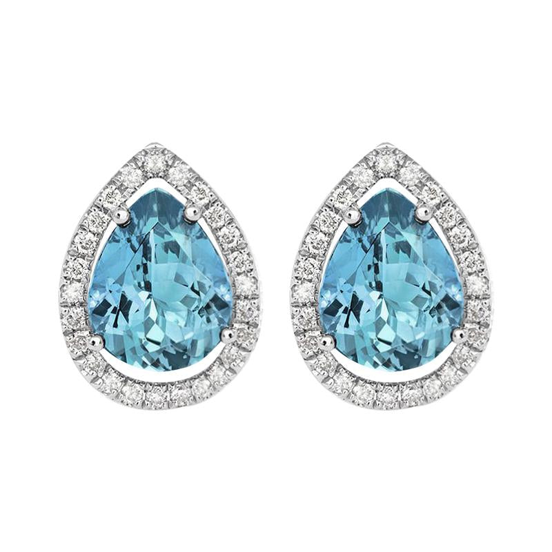 18ct White Gold 0.17ct Diamond Aquamarine Halo Earrings