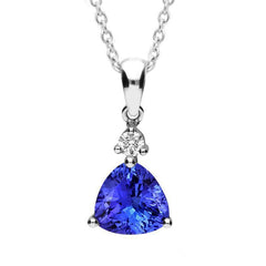 18ct White Gold 1.46ct Tanzanite 0.06ct Diamond Necklace