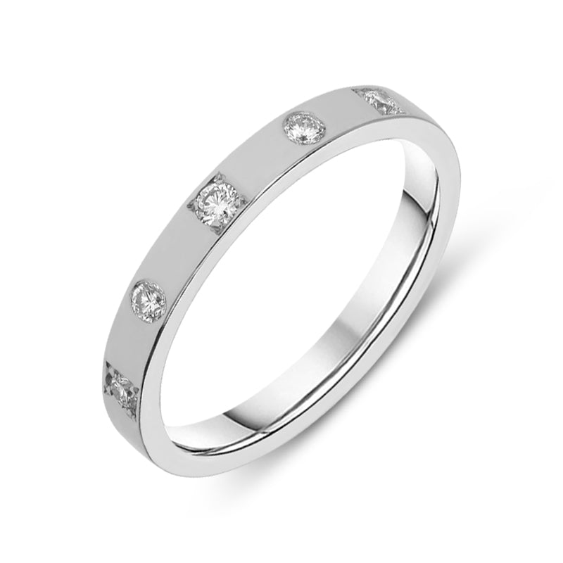 18ct White Gold 0.20ct Diamond Wedding band Ring
