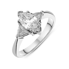 18ct White Gold 1.45ct Diamond Marquise Cut Trilogy Ring