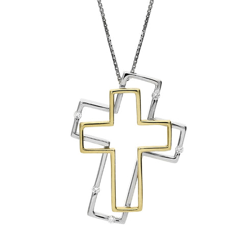 18ct White Gold Diamond 2 Cross Necklace