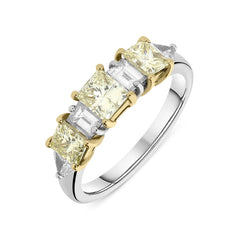 18ct White and Yellow Gold Five Stone Diamond Ring
