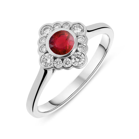 18ct White Gold 0.29ct Ruby 0.20ct Diamond Cluster Ring