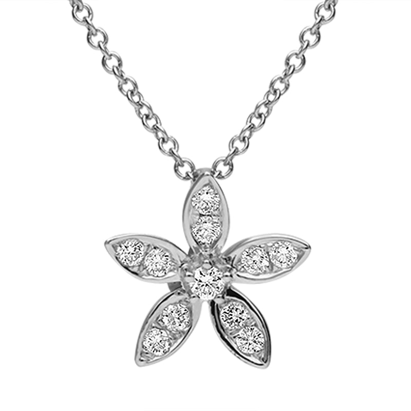 18ct White Gold 0.16 Carat Diamond 5 Petal Flower Necklace