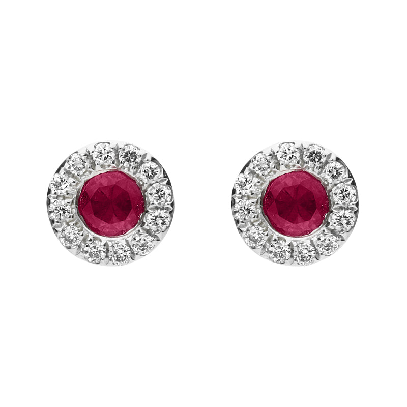 18ct White Gold 0.27ct Ruby and Diamond 0.10ct Round Stud Earrings
