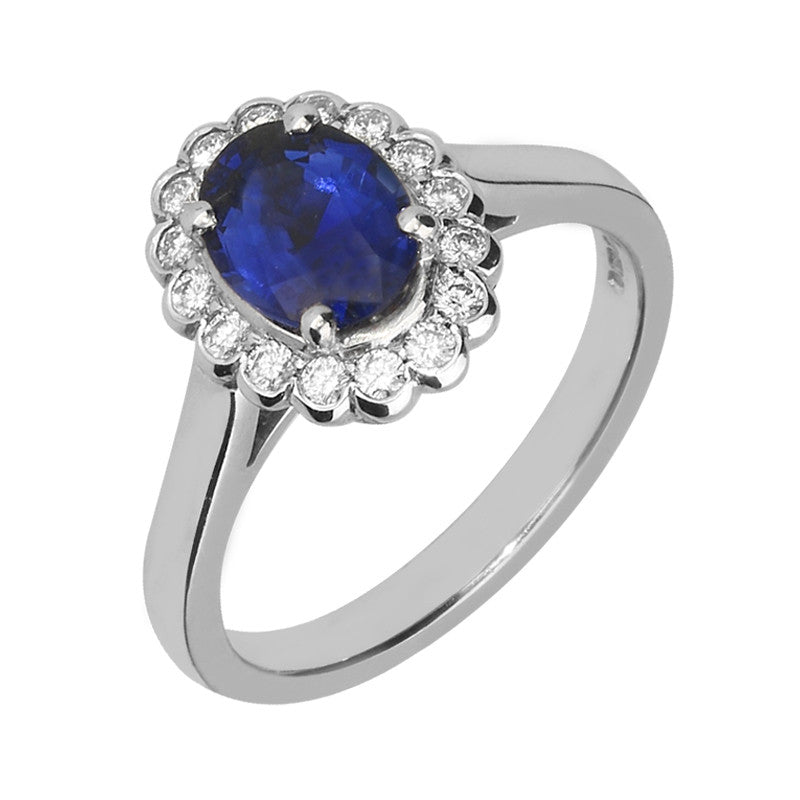 18ct White Gold 1.38ct Sapphire and 0.22ct Diamond Cluster Ring