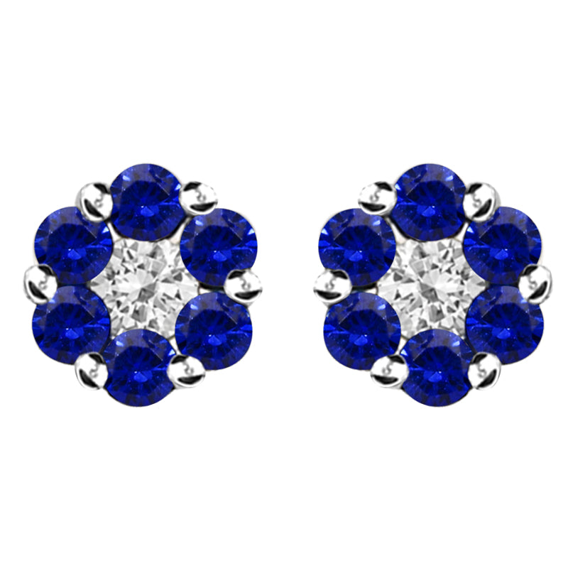 18ct White Gold 0.41ct Sapphire and 0.41ct Diamond Cluster Earrings