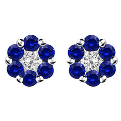 18ct White Gold 0.41ct Sapphire and 0.13ct Diamond Cluster Earrings