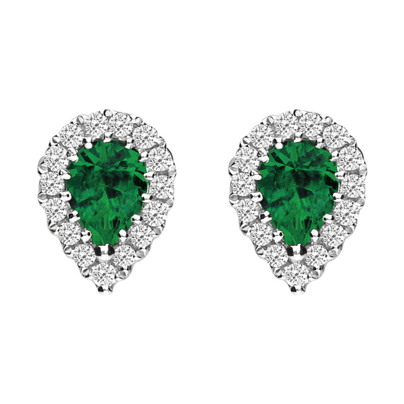 18ct White Gold Emerald and Diamond Pear Stud Earrings