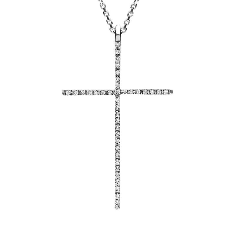 18ct White Gold Diamond Fine Cross Necklace