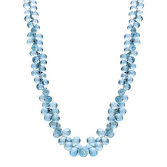 18ct White Gold Aquamarine Multi Faceted Peardrop Necklace