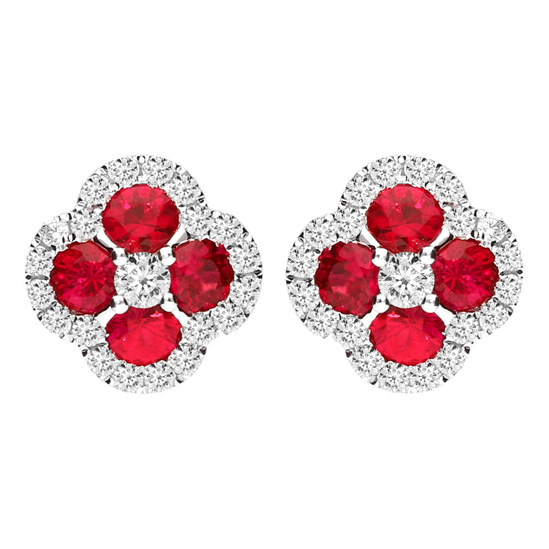 18ct White Gold Ruby and Diamond Four Stone Stud Earrings