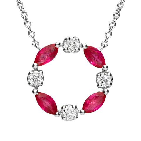 18ct White Gold 0.38ct Marquise Ruby 0.11ct Diamond Open Circle Necklace