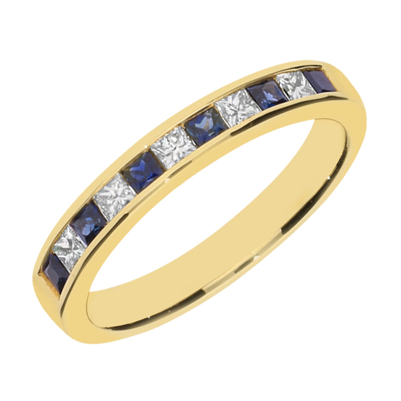 18ct Yellow Gold 0.37 Sapphire and 0.25 Diamond Half Eternity Ring