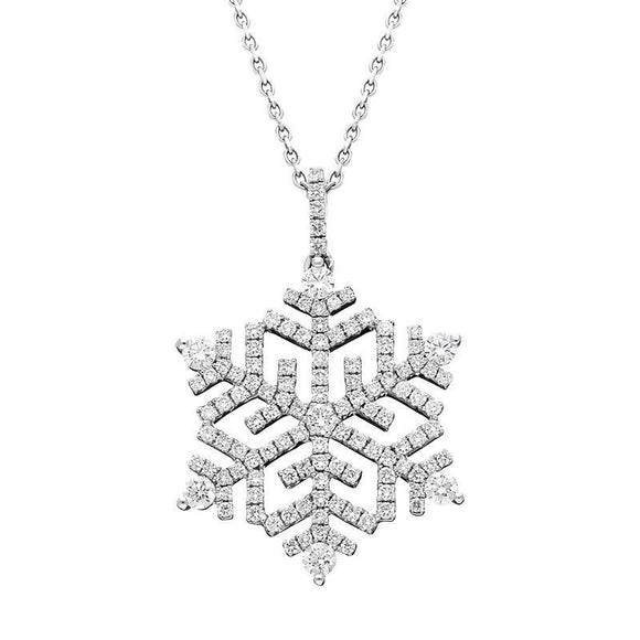 18ct White Gold Snowflake 1.13ct Diamond Necklace