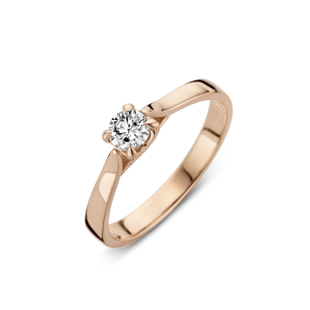 18ct Rose Gold 0.20ct Diamond Brilliant Cut Solitaire Ring