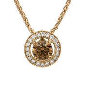 18ct Rose Gold 0.48ct Brown Diamond Halo Necklace, BLC-067.