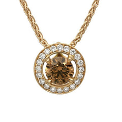 18ct Rose Gold 0.48ct Brown Diamond Halo Necklace
