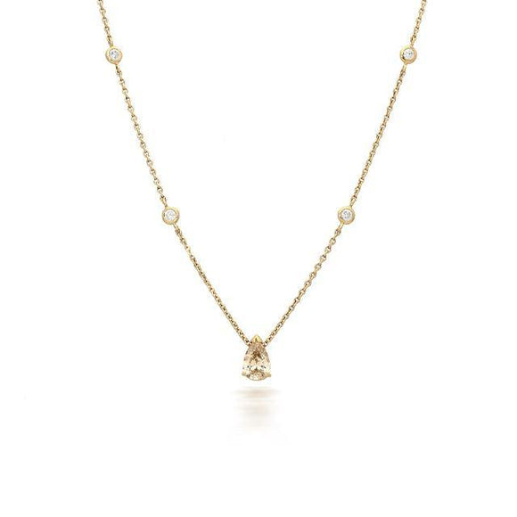 18ct Rose Gold 0.90ct Diamond Pear Cut Necklace, P3216C.