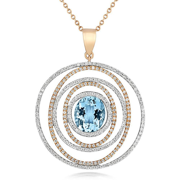 18ct Rose Gold 3.32ct Aquamarine Diamond Spiral Necklace, PTTR-0733-SAQ.
