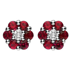 18ct White Gold Ruby and Diamond Cluster Stud Earrings
