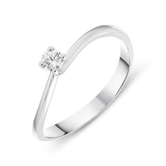 18ct White Gold 0.11ct Brilliant Cut Diamond Solitaire Twist Ring