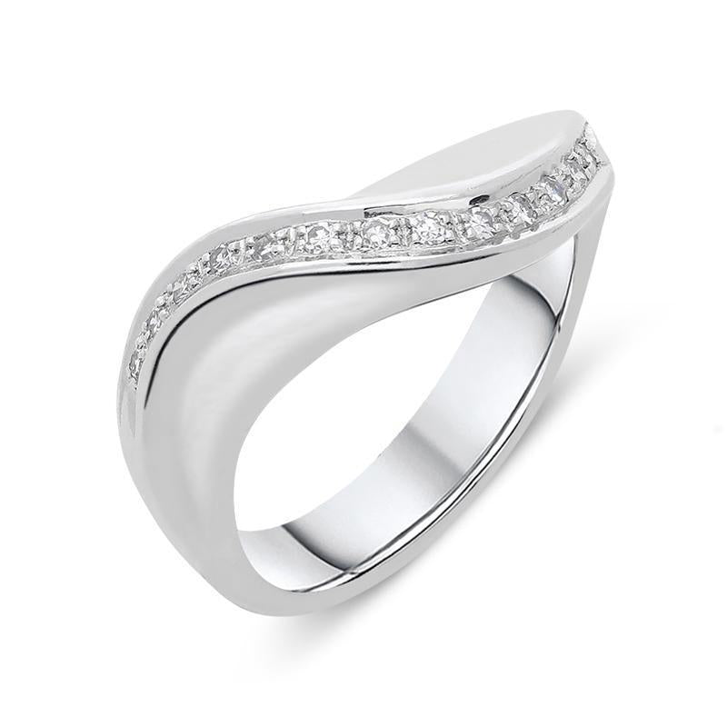18ct White Gold 0.13ct Diamond Wave Half Eternity Ring