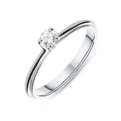 18ct White Gold 0.15ct Diamond Brilliant Cut Solitaire Ring