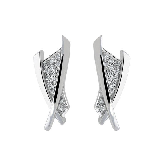 18ct White Gold 0.15ct Diamond Crossover Stud Earrings, BRN-128.