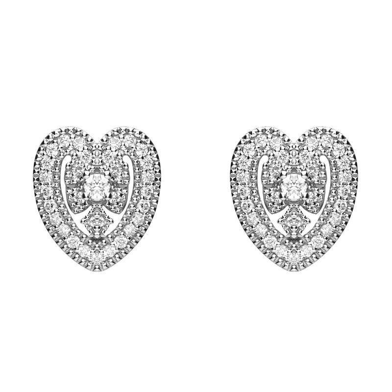18ct White Gold  0.15ct Diamond House Style Leaf Stud Earrings