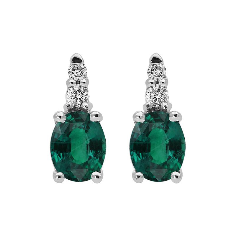 18ct White Gold 0.17ct Emerald and Diamond Stud Earrings