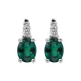 00065230 W Hamond 18ct White Gold 0.17ct Emerald 0.05ct Diamond Stud Earrings. EMDIAER1.